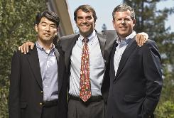 Principals at Draper Fisher Jurvetson are, from left, Perry Ha, Tim Draper and Don Wood.