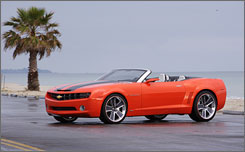 GM expects to offer a Chevrolet Camaro convertible in 2010. Seen here is a 2007 concept vehicle.
