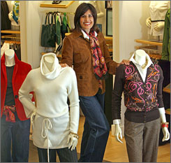 "Beth Teitell, 46, author of ""Drinking Problems at the Fountain of Youth,"" isn't pleased with most stores' selections. But she credits Talbots, whose clothes she models here, for targeting her age group."