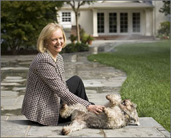 Former eBay CEO Meg Whitman with her miniature schnauzer, Eastie, at her Atherton, Calif., home.