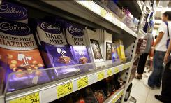 Chocolates of British chocolate maker Cadbury are displayed for sell at a supermarket in Hong Kong.