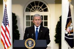 President Bush announces the $250B bank plan Tuesday in the Rose Garden of the White House.