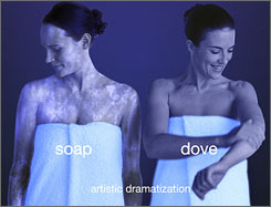Dove ads try to illustrate it doesn't leave soap scum behind.