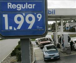 Customers line up to get gas for $1.99 a gallon at a Mobil gas station in Ohio.