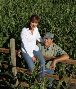 Dick Swank, 52, owner of Swank Farms and wife Bonnie, 54, on their 300-acre farm in California's Santa Clara Valley.