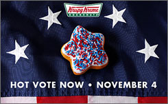 Some Krispy Kremes will give away star-shaped doughnuts Tuesday as a voting-day promotion.