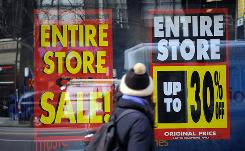 A Circuit City in New York advertises a store-closing sale last month. Consumer prices in October fell at the fastest pace in more than 60 years.