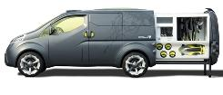 The NV200 concept van set up for use by a marine biologist with cubicles for scuba gear and such.