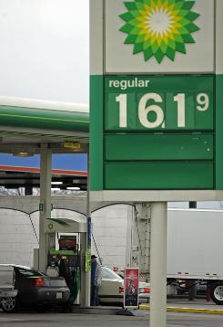 The price of one gallon of regular unleaded gasoline at a BP gas station in Hebron, OhioThursday.