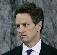 New York Federal Reserve President Timothy Geithner attends a news conference at the Treasury Department on Oct. 14.