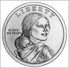 The Native American series of $1 coins begins with this previously used design honoring Sacagawea.