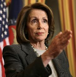 House Speaker Nancy Pelosi, D-Calif., at a news conference on the financial restructuring plans submitted by carmakers in Washington Tuesday. 