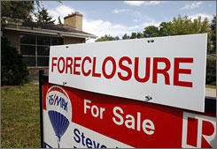 A home for sale in the Denver suburb of Lakewood, Colo. is under foreclosure on Sept. 28.