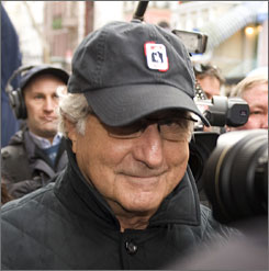 Bernard Madoff, chairman of Madoff Investment Securities, returning to his Manhattan apartment after making a court appearance in New York in December 2008.