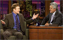 """Late Night"" host Conan O'Brien, left, with Jay Leno. O'Brien will get the ""Tonight"" seat."