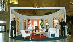 A replica of the White House Oval Office sits in the center of Union Station in Washington, D.C., designed with IKEA furniture.