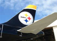 US Airways has put a Pittsburgh Steelers logo on the tail of an Airbus A319.