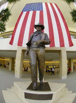 A statue of the Duke at John  Wayne Airport in Orange County, Calif.