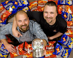 A Doritos commercial from brothers Dave, left, and Joe Herbert finished first in our Ad Meter survey, earning them a $1 million prize from Frito-Lay.