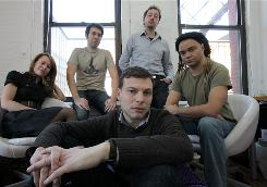 Blip.tv co-founders Dina Kaplan, back left, Jared Klett, Justin Day and Charles Hope, with Mike Hudack in front.