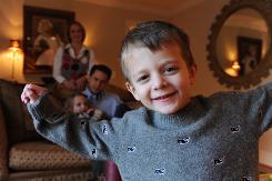David Krieger, 4, became very ill after eating a peanut butter product tainted by salmonella.