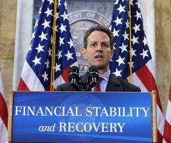 U.S. Treasury Secretary Timothy Geithner speaks during a news conference at the Treasury Department on Tuesday.