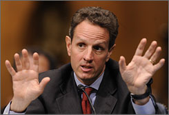 Treasury Secretary Timothy Geithner testifies Tuesday on Capitol Hill.