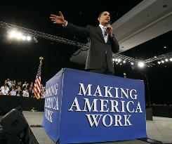 President Obama speaks on the economy during a town hall meeting in Fort Myers, Fla., on Feb. 10.