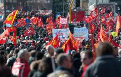 Members of the Italian union CGIL protest their government's handling of the economic crisis in Rome Feb. 13.