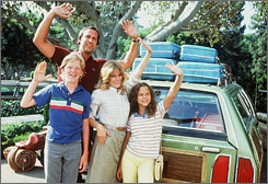 "National Lampoon's ""Vacation"" films, starring Chevy Chase and Beverly D'Angelo, feature the misadventures of the Griswold family vacations."