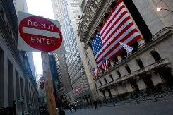 A traffic sign outside the New York Stock Exchange.