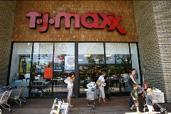 Customers shop at a TJ Maxx store in La Canada, Calif.