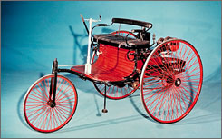 An 1886 version of Karl Benz's Benz Patent Motor-Wagen, which first came out a year earlier.