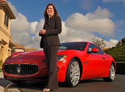 Marti Eulberg, CEO of Maserati North America, with her Maserati GranTurismo.