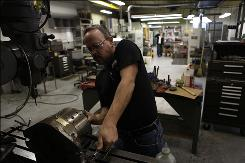 Steve Britton, of Flint, Mich., working on a Bridgeport mill, has worked at Schmald Tool & Die for 20 years.