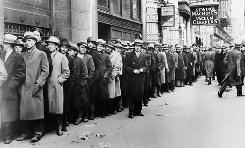 Some of nearly 5,000 unemployed people who waited outside the State Labor Bureau, which housed the State Temporary Employment Relief administration in New York.