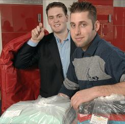 Dominic Coryell, CEO, left, and Adam Jacknow, founder and chief visionary officer of Garment Valet, a high-tech laundry and dry-cleaning service in Boston.