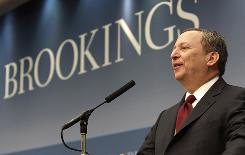 National Economic Council Director Lawrence Summers speaks at the Brookings Institution March 13, 2009.