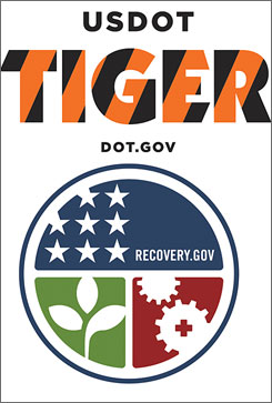 Logos for DOT stimulus projects, top, and Recovery.gov.