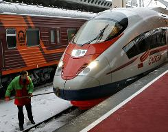 A Sapsan high-speed train in St. Petersburg, Russia. It will be part of a shuttle service between St. Petersburg and Moscow. The trip is expected to take less than four hours and cost less than flying.