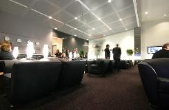 Lufthansa's lounge at Dulles Washington International Airport.
