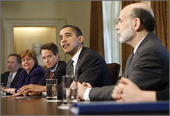 President Obama with Laurence Summers, left, Christina Romer, Timothy Geithner and Ben Bernanke on Monday at the economic briefing.