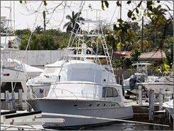 A 1969 Rybovich sport fishing boat belonging to Bernard Madoff is shown in a marina in Fort Lauderdale after it was seized by federal agents.