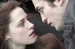 Kristen Stewart and Robert Pattinson in Twilight. The film was released at the same time to VOD and DVD.