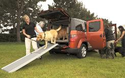 Alison Sobkowski, left, helps Luna out, while Joanne Sato, behind her, readies Tobey to make his exit from a Honda Element in Torrance, Calif. This version of the SUV is targeted at dog owners.