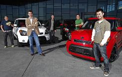 Kia's design team chills at the Kia Design Center America, in Irvine, Calif. From left: Chris Koutts; Tom Kearns, chief designer; Erik Klimisch, manager of exterior; Mossimo Frascella; and Ray Ng.