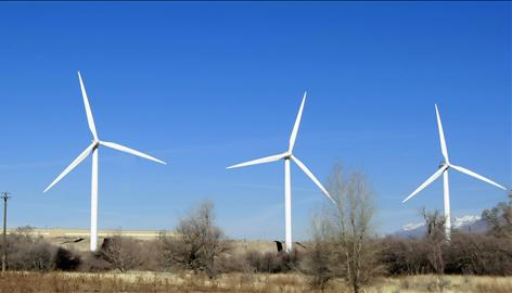 Utah is far behind the top wind power producers, with just 20 megawatts generated by turbines like these in Spanish Fork.