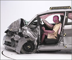 A Honda Fit after a crash test conducted by the Insurance Institute for Highway Safety.