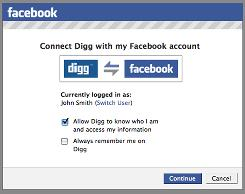 Facebook Connect lets webmasters put a special tab on their sites to let people sign in with their Facebook credentials.