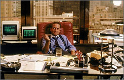 Michael Douglas, as Gordon Gekko, in the 1987 motion picture ' Wall Street'.